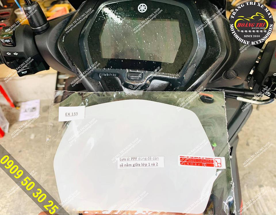 Trên hình là miếng dán PPF cho mặt đồng hồ Exciter 155