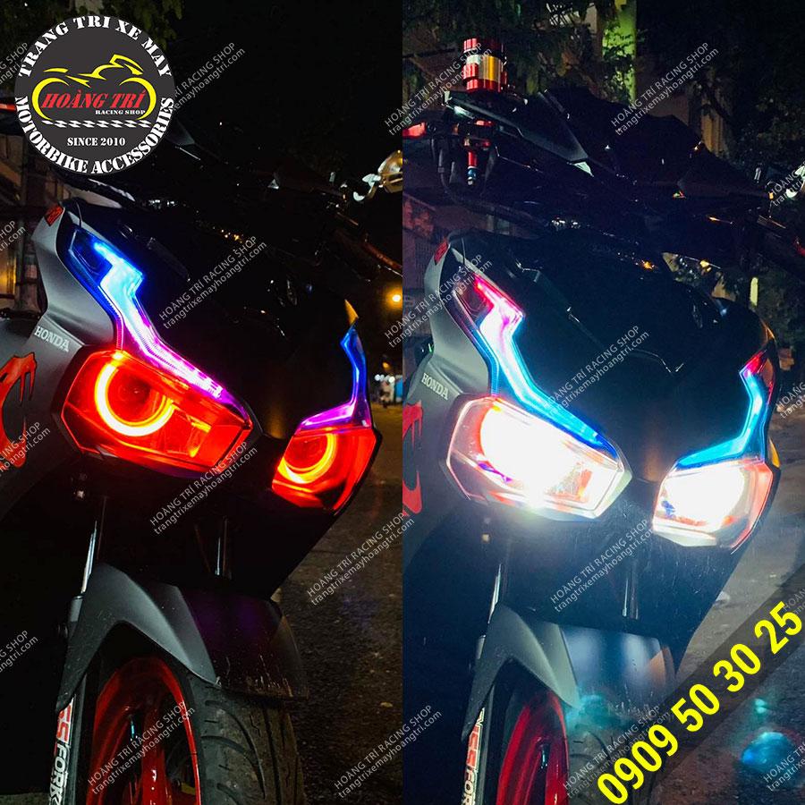 Chế độ Demi (trái) - chế độ chiếu sáng (phải) trên đèn bi cầu HTR-1220