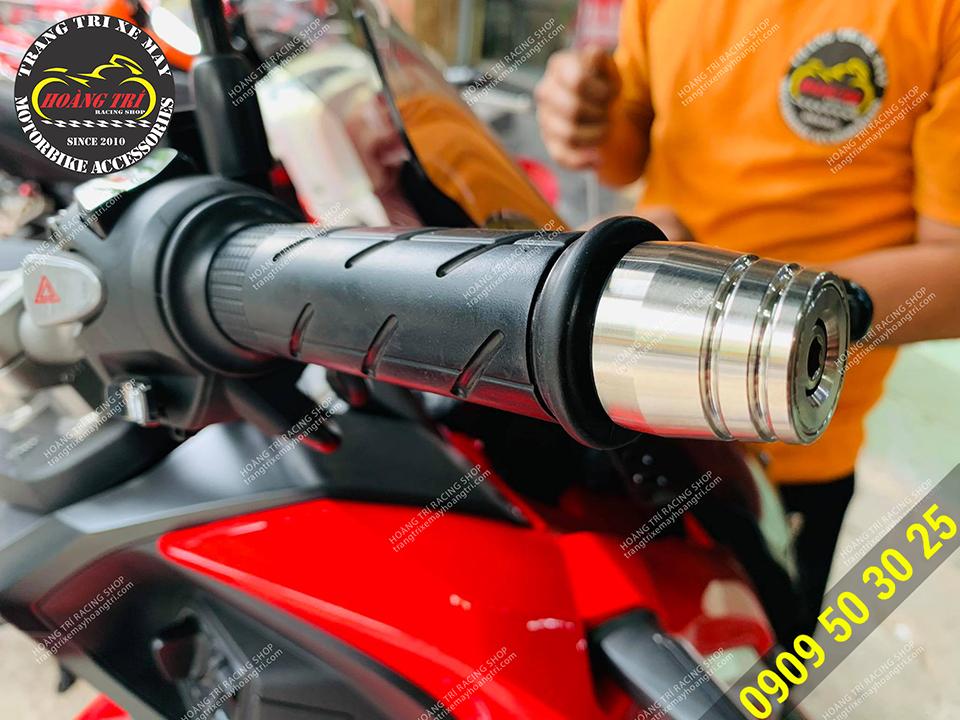 Gù tay lái inox sáng bóng gắn được cho nhiều dòng xe