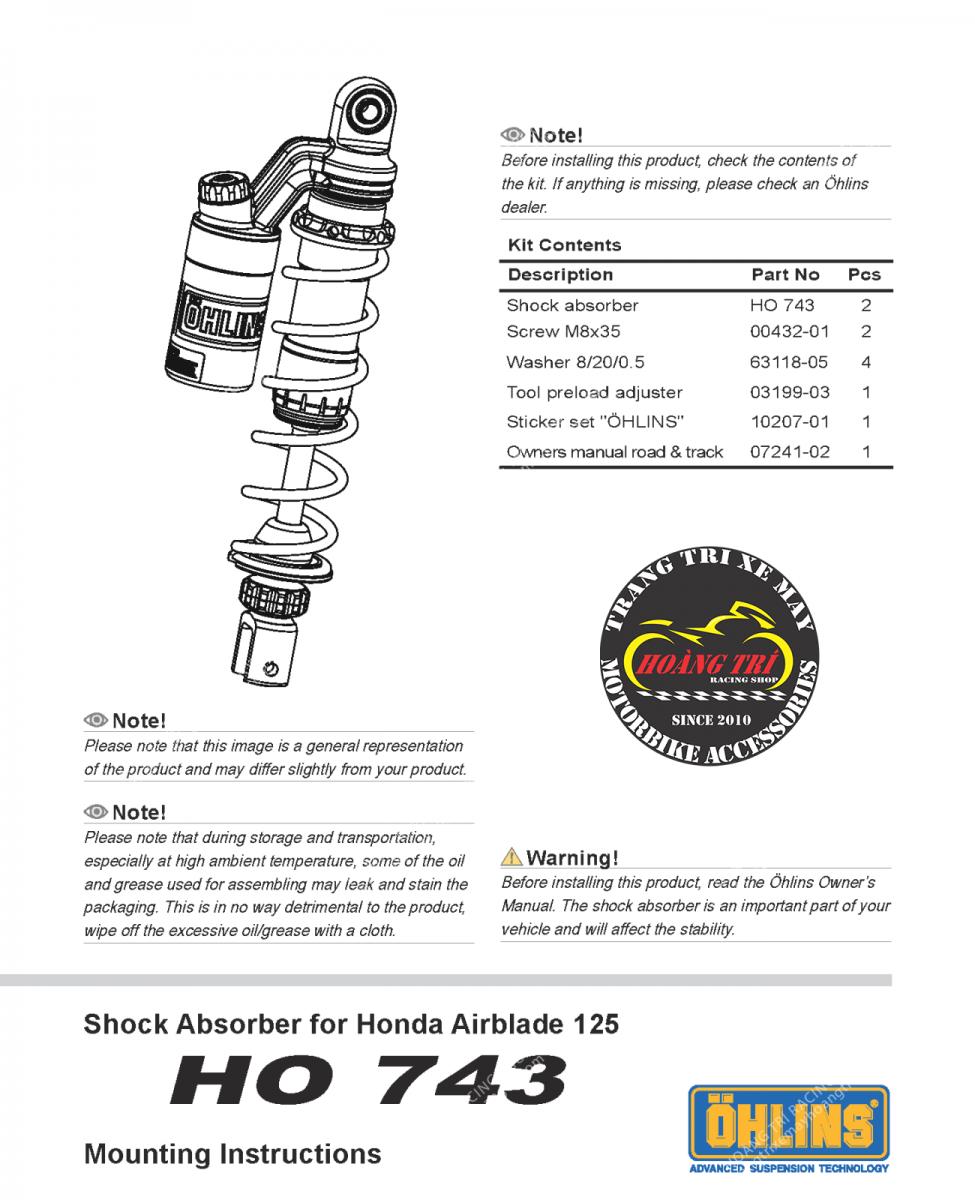 Các thông số khác của phuộc Ohlins Ho743 dành cho Airblade 125