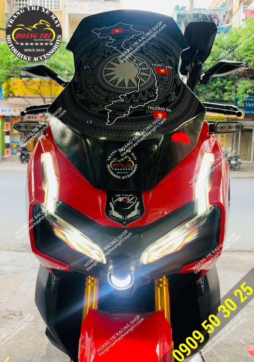Tem chắn gió bản đồ Việt Nam cho xe ADV 150