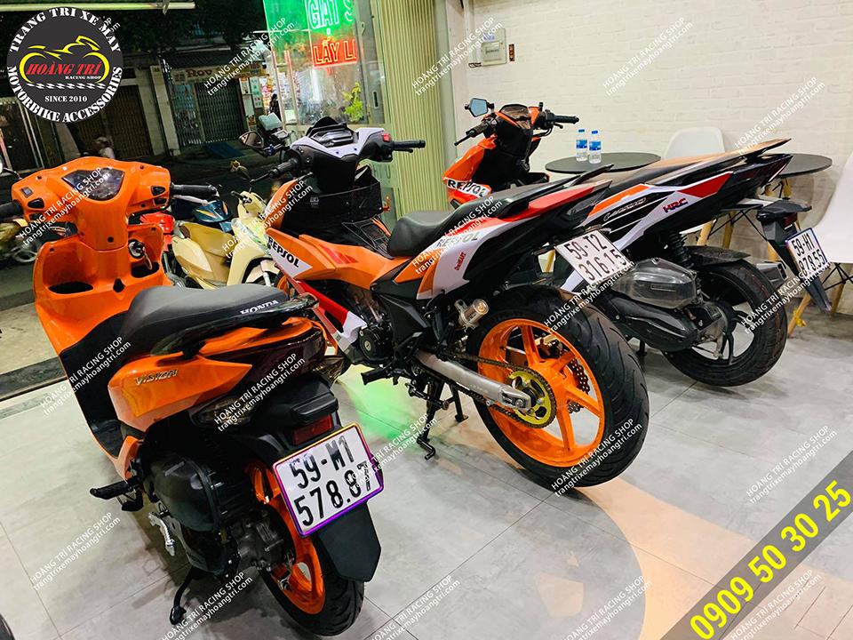 Phần mâm xe chiếc Winner X và Vision đã sơn thành màu cam nổi bật