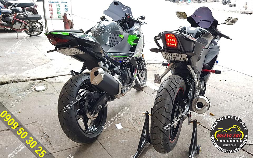 Chiếc Kawasaki Ninja 400 kế bên cũng độ pát đút gầm
