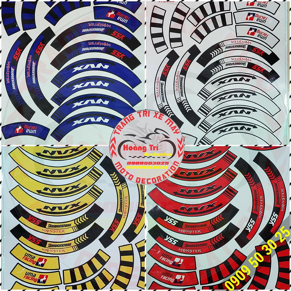 Nhiều màu sắc khác nhau của tem phản quang bánh mâm