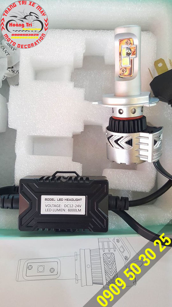 Chuẩn bị bộ đèn pha led HeadLight lắp cho Dream