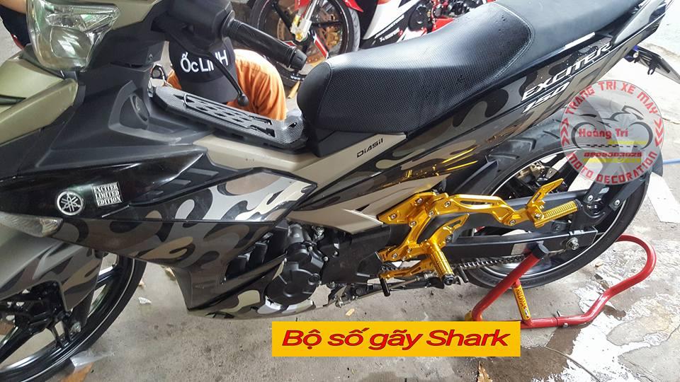 Bộ số gãy Shark trên xế yêu Exciter camo
