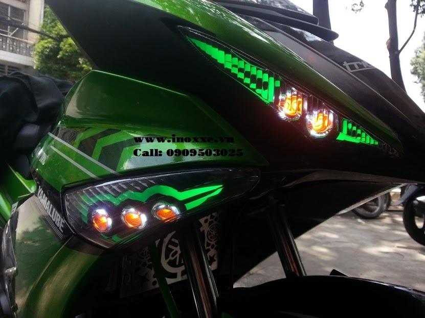 Nhìn cận cảnh xe Exciter 150 độ Led audi tích hợp Oblock cho đèn xi nhan trước và đèn sương mù