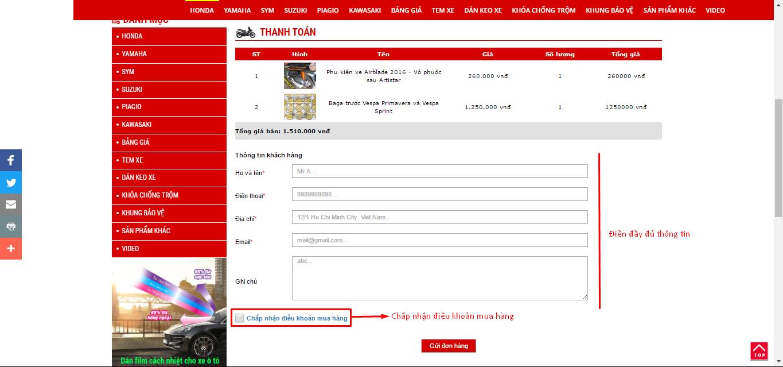 Tiến hành điền thông tin thanh toán và chấp nhận điều khoản bán hàng của Hoàng Trí Racing Shop