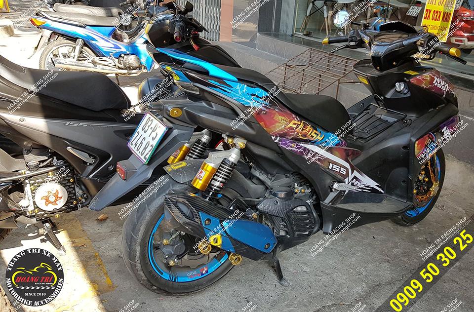 NVX sau khi lắp đặt dè con NVX kiểu chính hãng Yamaha