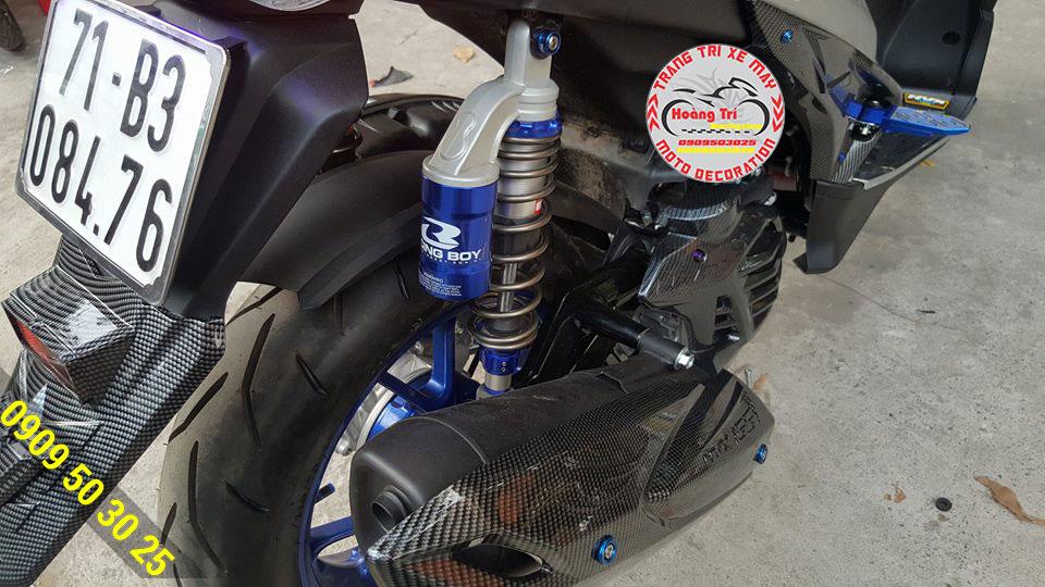 Phuộc Racing Boy bình dầu NVX màu xanh dương tông sẹc tông
