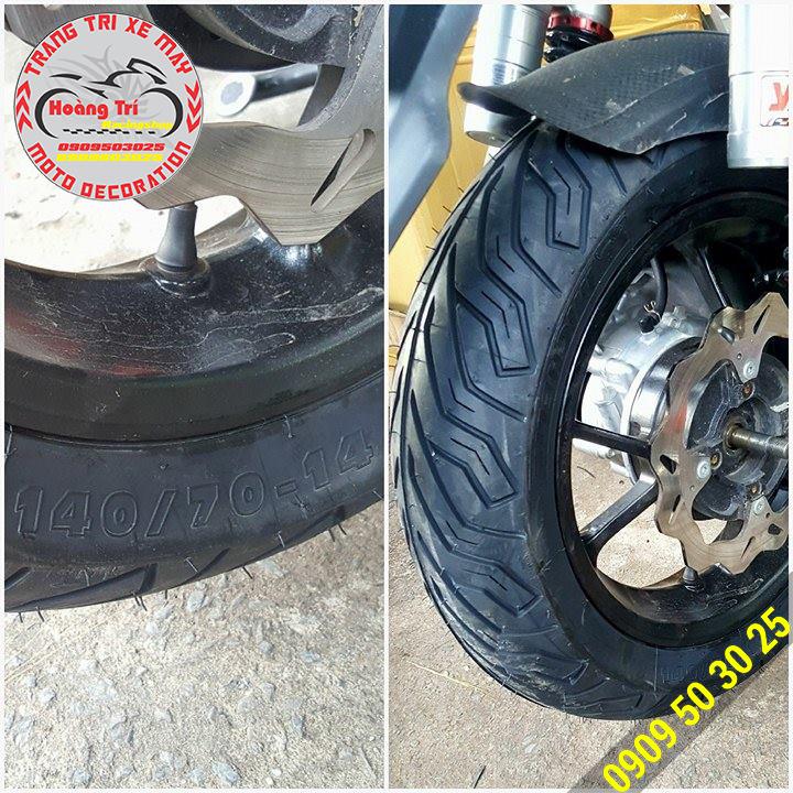 Cận cảnh và chi tiết của lốp xe NVX sau khi lắp lên xe