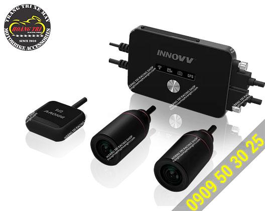 Cận cảnh trọn bộ sản phẩm camera hành trình Innovv K2 Vietmap - lắp đặt trước và sau xe máy