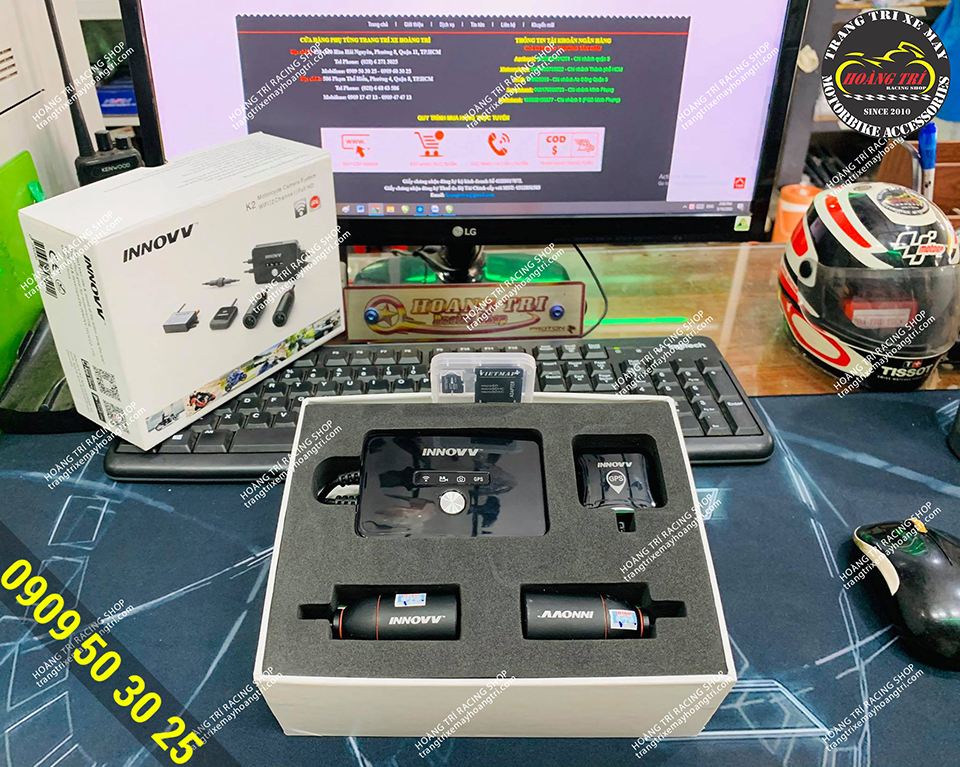 Unbox sản phẩm camera hành trình Innovv K2 Vietmap - lắp đặt trước và sau xe máy