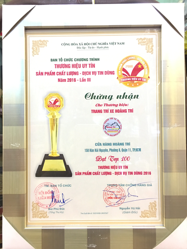 Hoàng Trí đạt TOP 100 thương hiệu uy tín năm 2016
