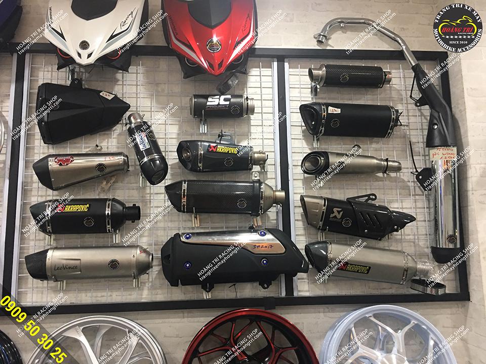 Vị trí trưng bày pô xe máy các loại